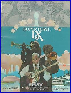 1/12 1975 Super Bowl IX Pittsburgh Steelers Minnesota Vikings Program Nice