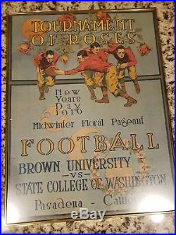 1916 Brown Washington State Rose Bowl Football Poster 1965 50th Reprint