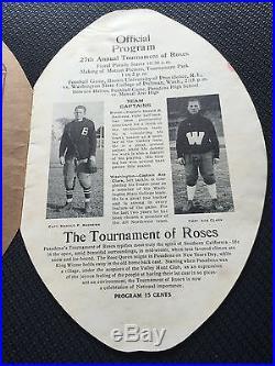 1916 Brown Washington State Rose Bowl Game Football Program Fritz Pollard Wsu/c