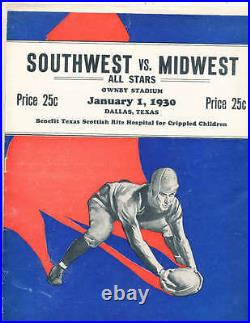 1930 1/1 Southwest vs Midwest College all stars bowl Football program Dallas tx