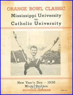 1936 Orange Bowl football Program Mississippi vs Catholic University