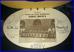 1936 ROSE BOWL TEAM SIGNED Photo Book & Menu AUTOGRAPH SMU STANFORD FOOTBALL