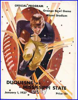1937 Orange Bowl football Program Duquesne vs Mississippi State