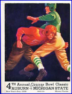 1938 Orange Bowl football Program Auburn vs Michigan State