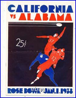 1938 Rose Bowl Football Program California vs Alabama