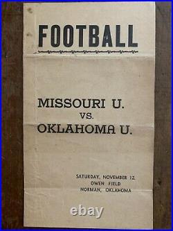 1938 rareOKLAHOMA vs MISSOURI football program/P. CHRISTMAN/OU to ORANGE BOWL
