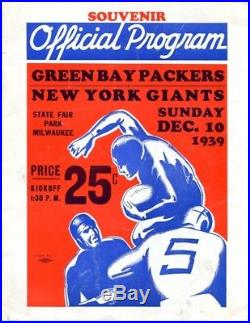 1939 NFL Championship Game Program Giants v Packers 12/10 Dairy Bowl Ex/MT