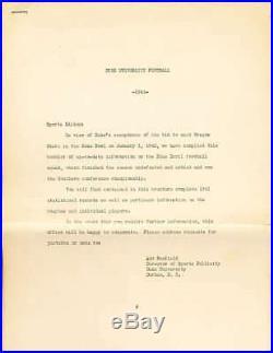 1942 Duke University Rose Bowl Football Guide legal size Rare bxsafe
