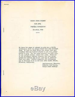 1942 Rose Bowl Guide Oregon State College 12/1941