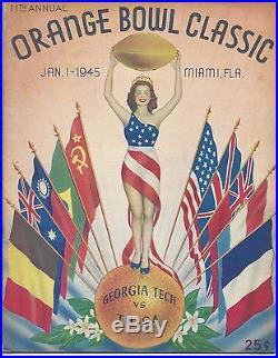 1945 Orange Bowl football program Tulsa vs Georgia Tech @ Miami, Florida EX