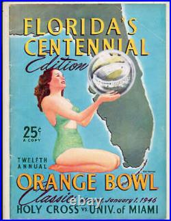 1946 Orange Bowl football Program Holy Cross vs Miami