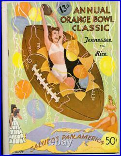 1947 Orange Bowl football Program Tennessee vs Rice