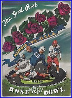 1947 Rose Bowl Football program Illinois Fightin' Illini vs. UCLA Bruins EXMT