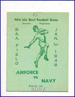 1948 1/1 Fifth Lily Bowl football Program Airforce vs Navy Bermuda
