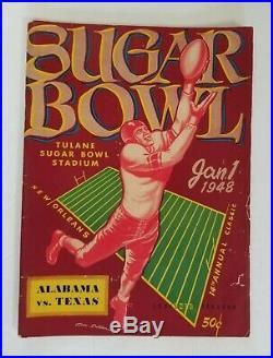 1948 NCAA Football Program Sugar Bowl Alabama vs Texas Excellent Condition