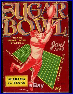 1948 NCAA Football Program Sugar Bowl Alabama vs Texas VG+