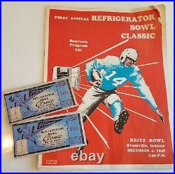 1948 Refrigerator Bowl football program w (2) Tickets Missouri Valley Evansville