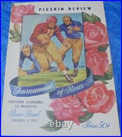 1948 Rose Bowl Game Program USC Trojans vs. Michigan Wolverines VTG Collectible