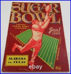 1948 Sugar Bowl Program Texas Longhorns v Alabama Crimson Tide Ex 68565