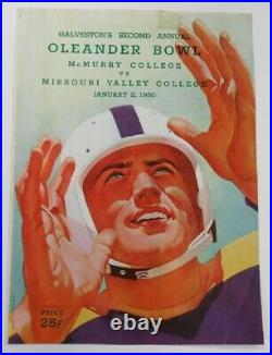 1950 Oleander Bowl Program McMurry v Missouri Valley Very Rare Galveston TX Ex