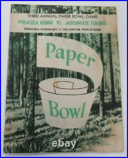 1950 Paper Bowl Program Pensacola v Jacksonville Teachers 12/2 VG/Ex 68881