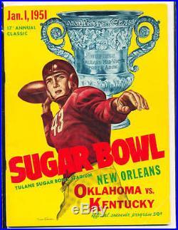 1951 1/1 Kentucky vs Oklahoma Sugar bowl Football Program Bear Bryant