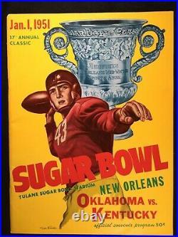 1951 Sugar Bowl Program Oklahoma Sooners vs Kentucky Wildcats Wilkinson v Bryant