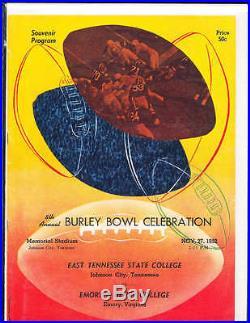 1952 11/27 Burley Bowl football program East Tennessee State vs Emory & Henr