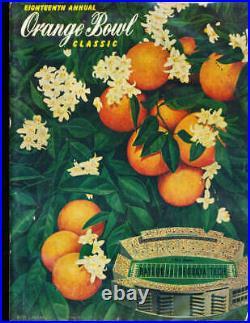 1952 Orange Bowl Football Program Baylor vs Georgia Tech