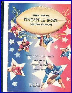 1952 Pineapple Bowl Football program San Diego State vs Hawaii