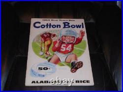 1954 Cotton Bowl Football Program Alabama Vs Rice Bart Starr Ex-mint