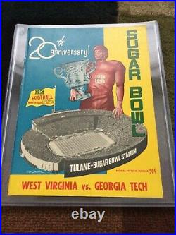 1954 West Virginia Georgia Tech Sugar Bowl Football Game Program Mountaineers Gt