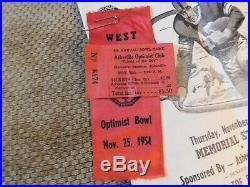 1954 Western Carolina High School N. C. Optimist Bowl Jersey, Program, Ribbon