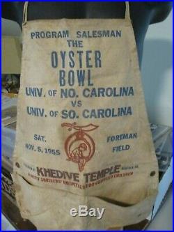1955 Oyster Bowl Football Program Seller Apron Norfolk VA Foreman Field UNC USC