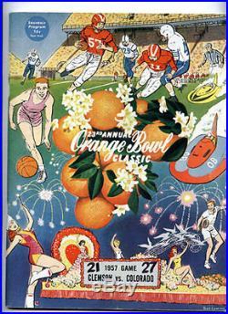 1957 Clemson vs Colorado RARE 23rd Annual Orange Bowl Football Program NCAA