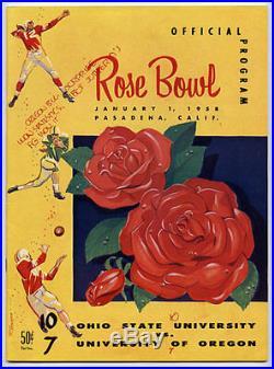1958 Rose Bowl RARE Ohio State Oregon Football Program Buckeyes v Webfoots