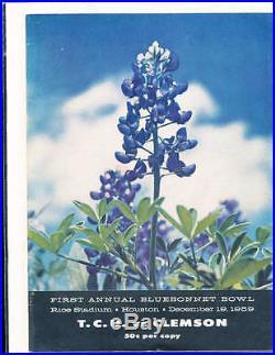 1959 Bluebonnet Bowl Football Program first TCU vs Clemson