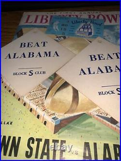 1959 Liberty Bowl RARE Penn State Alabama Football Program And Game Ticket