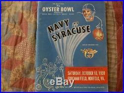 1959 OYSTER BOWL PROGRAM SYRACUSE NAVY College Football ERNIE DAVIS CUSE CHAMPS