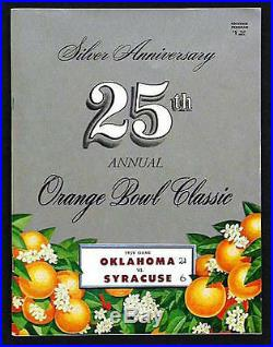 1959 Orange Bowl RARE Oklahoma v Syracuse Football Program Prentice Gautt