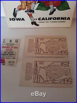 1959 Rose Bowl Football Ticket Stubs & Program, Iowa vs Cal + Parade Stub