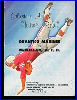 1959 Shrimp Bowl football program Quantico Marines 90-0 Mcclellan AFB