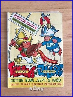 1960 AFL FIRST GAME PROGRAM TEXANS vs OILERS Dallas Cotton Bowl Sep 2, 1960