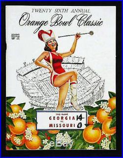 1960 Orange Bowl RARE Georgia v Missouri Football Program Fran Tarkenton