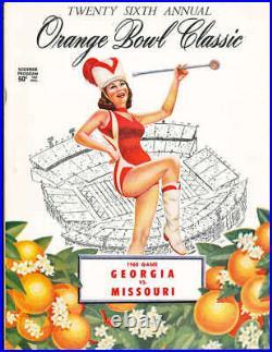 1960 Orange Bowl football Program Georgia vs Missouri Fran Tarkenton