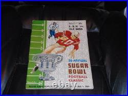 1960 Sugar Bowl Football Program Ole Miss Vs Lsu 21-0 Ole Miss Wins
