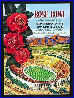 1961 Rose Bowl RARE Washington Minnesota Football Program Gophers v Huskies