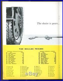 1962 AFL Denver Broncos v Dallas Texans Program 12/9 Cotton Bowl Ex/MT 43525