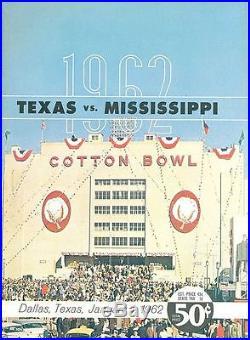 1962 Cotton Bowl Texas Mississippi football program nrmt