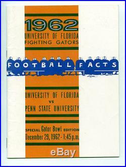 1962 Gator Bowl RARE Florida Gators Penn State Media Guide VTG NCAA Football